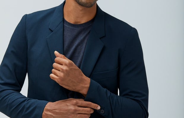 Mens Navy Velocity Blazer and Navy Composite Merino Tee - On Model