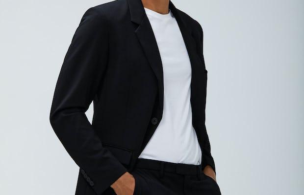 Mens Black Velocity Blazer and Black Velocity Pant and White Atlas Crew Tee - On Model