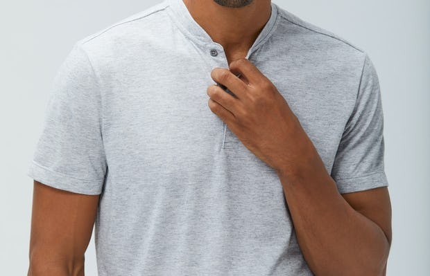 Mens Grey Heather Recycled Composite Merino Short Sleeve Henley - On Model