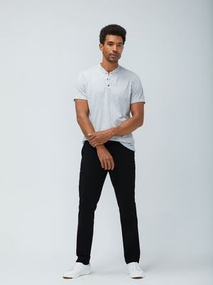 Mens Grey Heather Recycled Composite Merino Short Sleeve Henley and Black Velocity Dress Pant- On Model