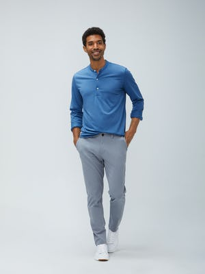 Mens Storm Blue Recycled Composite Merino Long Sleeve Henley and Light Grey Momentum Chino - On Model