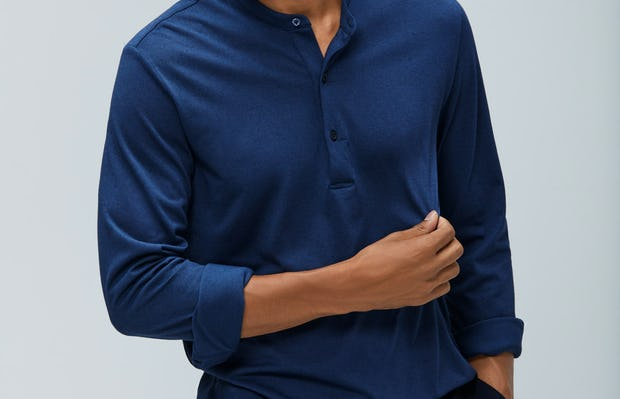 Mens Cadet Blue Recycled Composite Merino Long Sleeve Henley - On Model