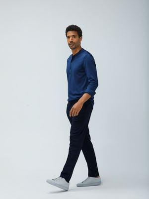 Mens Cadet Blue Recycled Composite Merino Long Sleeve Henley and Navy Fusion Pant - On Model
