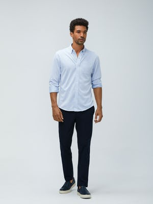Mens Navy Kinetic Pants and Blue White Stripe Hybrid Button Down - On Model