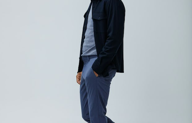 Mens Indigo Static Atlas Nylon Sweater and Indigo Heather Kinetic Pant and Navy Fusion Overshirt - On Model