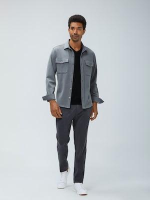 Mens Graphite Velocity Pants and Flint Grey Fusion Overshirt and Black Atlas V-Neck Tee - On Model