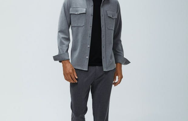 Mens Graphite Velocity Pants and Flint Grey Fusion Overshirt and Black Atlas V-Neck Tee - On Model