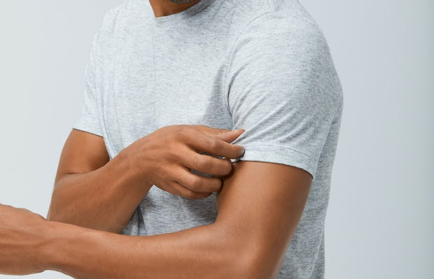 Mens Light Grey Composite Merino Tee - On Model