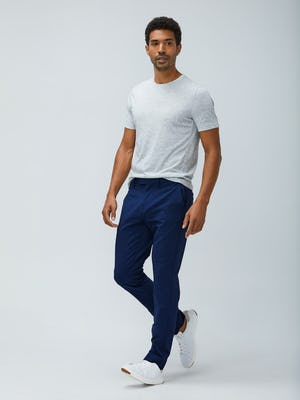 Mens Light Grey Composite Merino Tee and Indigo Heather Velocity Pant- On Model