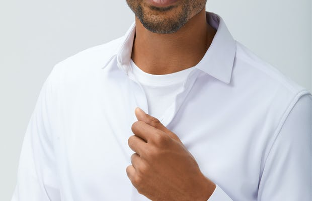 Mens White Apollo Dress Shirt - On Model