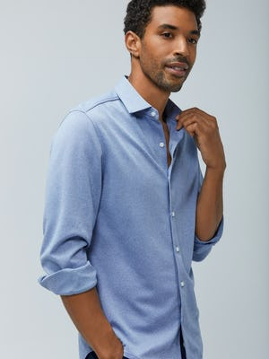 Mens Pale Blue Heather Apollo Dress Shirt - On Model 2