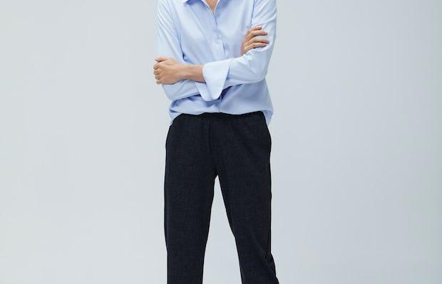 Womens Light Blue Aero Zero Shirt and Grey Glen Plaid Fusion Pull On Pant - On Model