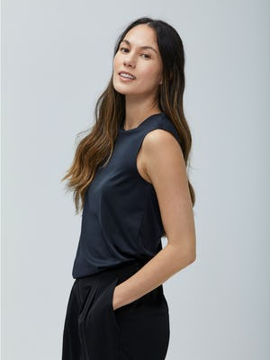 Women's Black Luxe Touch Tank on Model facing left looking forward