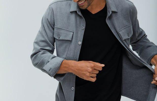Men's Flint Grey Fusion Overshirt over Men's Black Atlas V-Neck Tee on Model