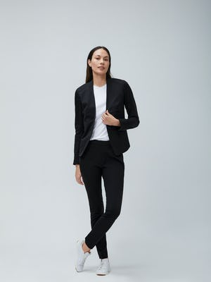 Women's Black Kinetic Blazer, White Luxe Touch Tank and Women's Black Kinetic Skinny Pants on Model facing forward