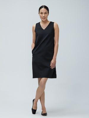 Women's Black Kinetic A-Line Dress on Model facing forward