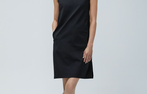 Women's Black Kinetic A-Line Dress on Model facing forward