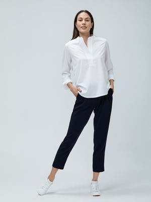 Women's White Juno Popover and Navy Swift Drape Pants on model facing forward