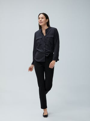 Women's Black Juno Patch Pocket and Women's Black Fusion Straight Leg Pant on Model walking forward
