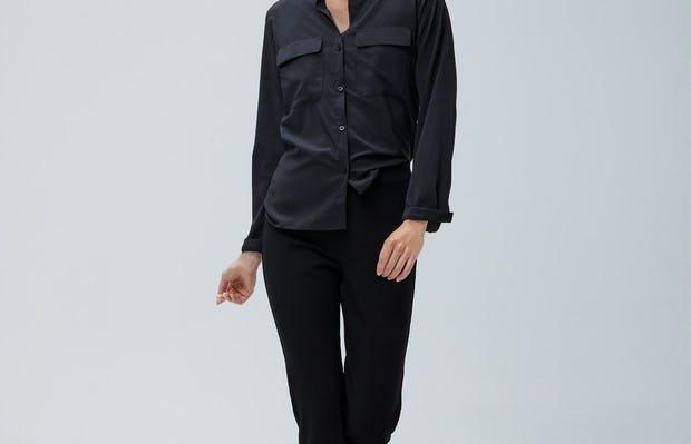 Women's Black Juno Patch Pocket and Women's Black Fusion Straight Leg Pant on Model walking forward
