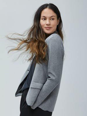 Women's Light Grey Atlas Knit Blazer on Model facing left and looking forward