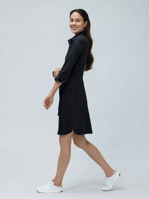 Women's Black Apollo Shirt Dress on Model walking left