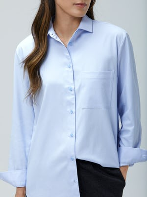 Close up of Women's Light Blue Aero Zero Boyfriend Shirt on model