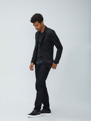 Men's Black Kinetic Blazer and Black Chroma Denim on model walking left