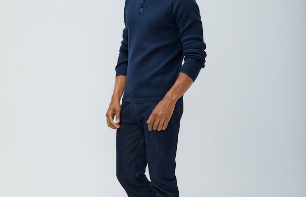 Men's Navy Atlas Merino Button Collar and Men's Indigo Chroma Denim on model facing left looking forward