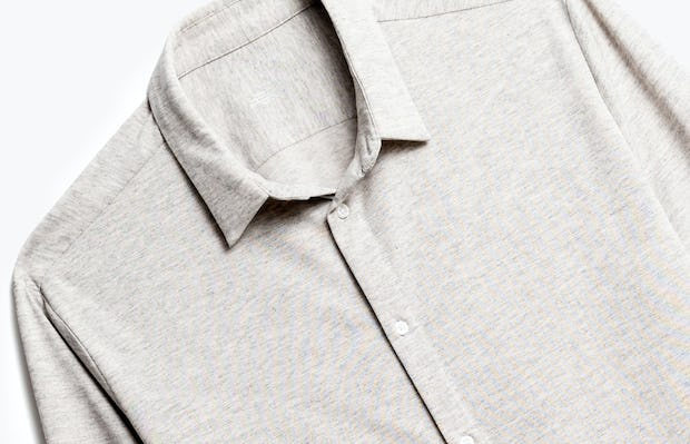 Close up of Men's Grey Heather Recycled Composite Merino Shirt front
