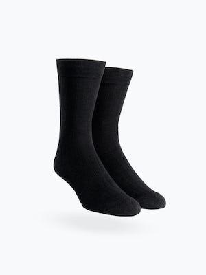 atlas black rib knit crew sock