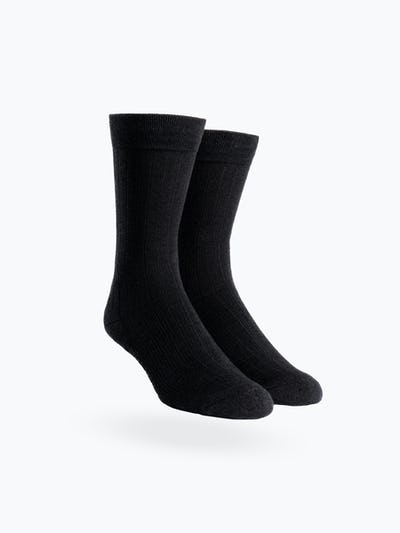 atlas black rib knit crew sock