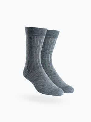 atlas grey rib knit crew sock