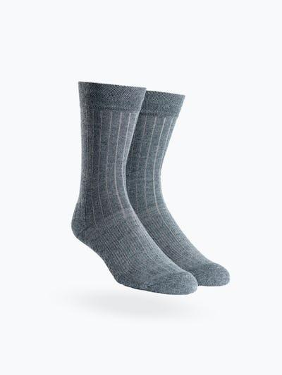 atlas grey rib knit crew sock
