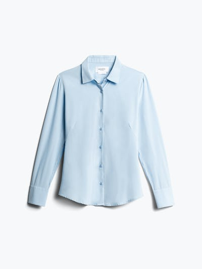 Women's Light Blue Juno Recycled Tailored Dress Shirt Front