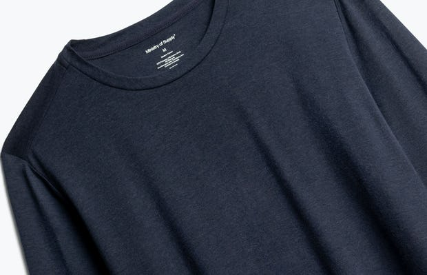 Close up of Men's Navy Composite Merino Long Sleeve Tee Front