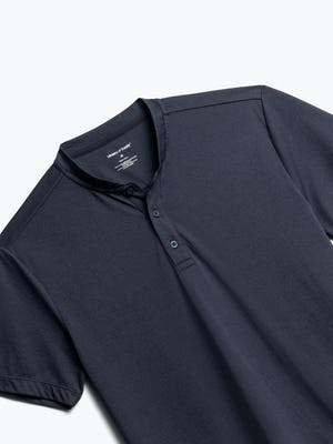 Close up of Men's Navy Composite Short Sleeve Henley Front