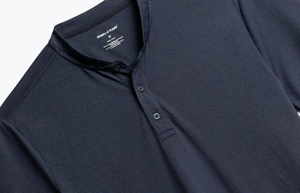 Close up of Men's Navy Composite Short Sleeve Henley Front