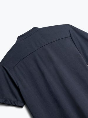Close up of Men's Navy Composite Short Sleeve Henley Back