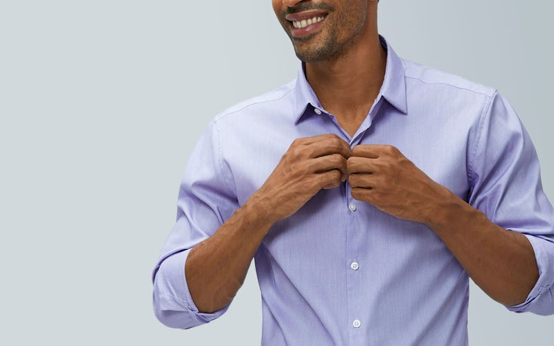 aero dress shirt lavender end on end model buttoning shirt