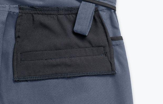 Close up of Men's Indigo Heather Kinetic Adaptive Pants interior grab hold