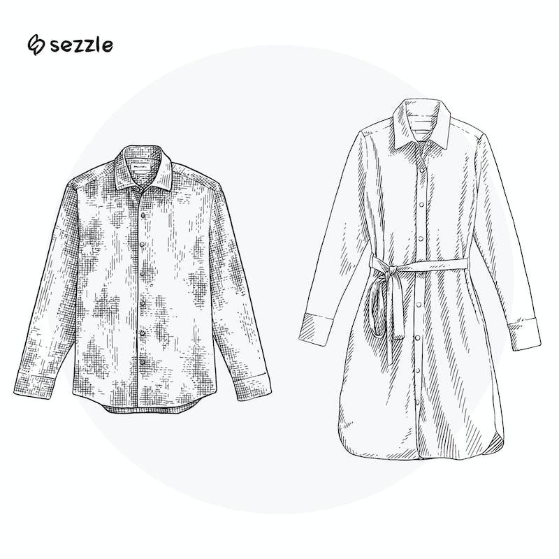 Illustration of Men's Shirt and Women's Shirt Dress'