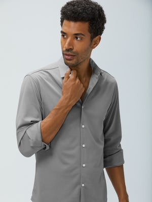 men's granite oxford brushed apollo dress shirt model with sleeves rolled hand on collar