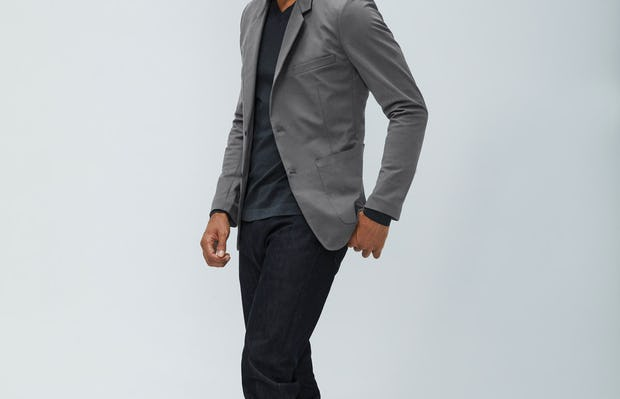 Mens Charcoal Heather Kinetic Blazer and Charcoal Static Atlas V-Neck Sweater and Black Chroma Denim - on model
