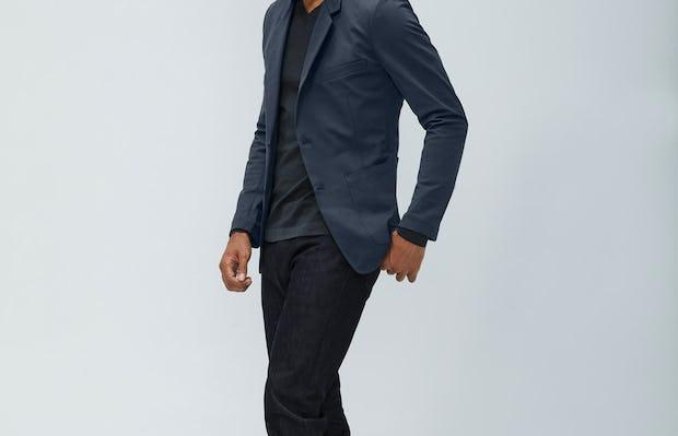 Mens Navy Kinetic Blazer and Charcoal Static V-Neck Sweater and Black Chroma Denim - on model