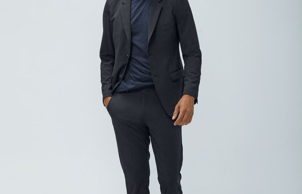 Mens Dark Charcoal Velocity Blazer and Dark Charcoal Composite Merino Tee and Navy Velocity Pant - on model