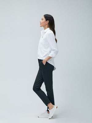 Womens White Aero Zero Boyfriend Shirt and Navy Kinetic Slim Pant - on model