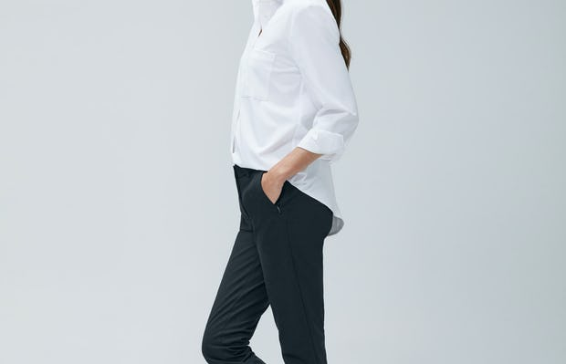 Womens White Aero Zero Boyfriend Shirt and Navy Kinetic Slim Pant - on model