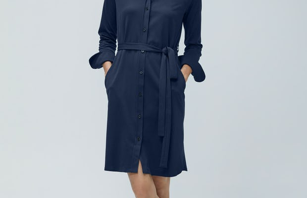 Womens Navy Apollo Shirt Dress - on model