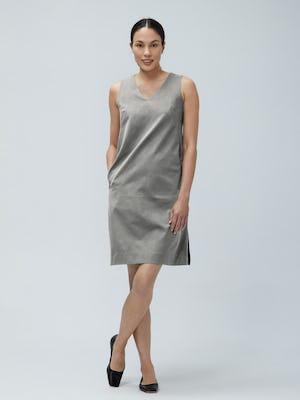 Womens Grey Heather Kinetic A-line Dress - on model